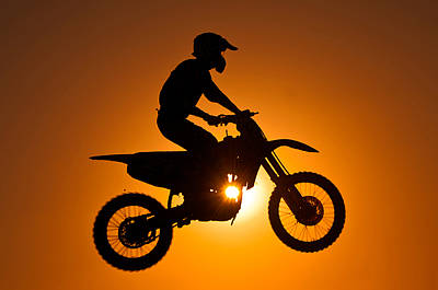 Silhouette Of Motocross At Sunset Art Print by Shahbaz Hussain's Photos