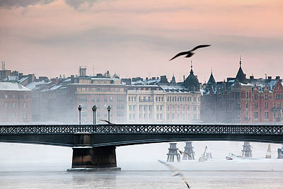 Flying Photograph - Skeppsholmsbron, Stockholm by Hannes Runelöf