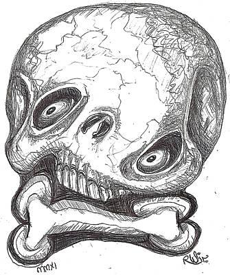 Skullnbone Twisted Art Print by Robert Wolverton Jr