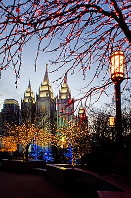 Slc Temple Photograph - Slc Temple Lights Lamp by La Rae  Roberts