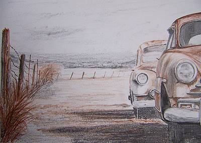 Rusted Cars Drawing - Slow Demise by Terence John Cleary