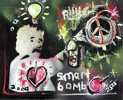 Stencil Art Painting - Smart Bomb by Robert Wolverton Jr