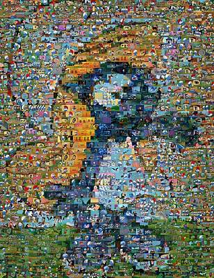 Smurfette The Smurfs Mosaic Art Print by Paul Van Scott