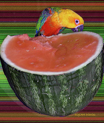 Watermelon Digital Art - Sneaking A Bite by DigiArt Diaries by Vicky B Fuller