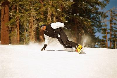 Natural Forces Photograph - Snowboarding Down A Hill by Barry Tessman