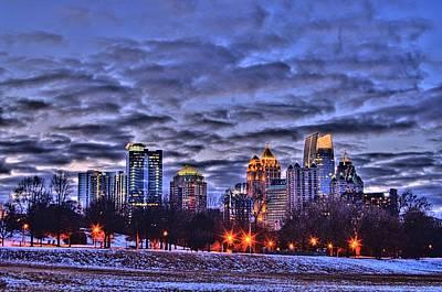 Corky Willis And Associates Atlanta Photograph - Snowy City At Night by Corky Willis Atlanta Photography