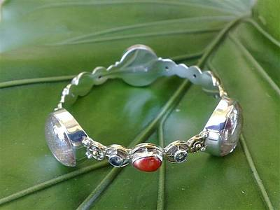 Sterling Silver With Ceramics Jewelry - Ss Bangle With Ice Clear Glass Gem Marbles  by fmnjewel - Fernando Situmeang