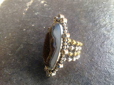 Sterling Silver With Ceramics Jewelry - Ss Ring Contemporary With Drusy by fmnjewel - Fernando Situmeang