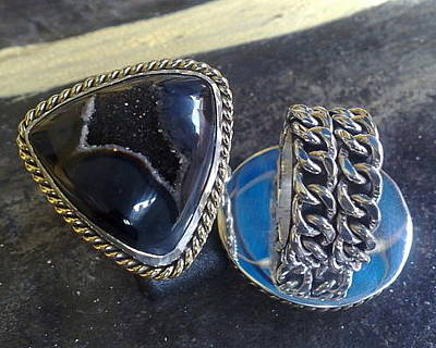 Sterling Silver With Ceramics Jewelry - Ss Ring With Indonesian Black Drusy by fmnjewel - Fernando Situmeang