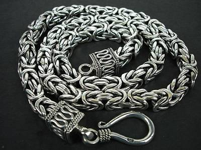 Ss Square Byzantine Chain Necklace 8mm With Hook Original