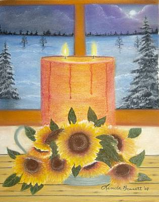 Pastel - Sunflower Candle by Linda Bennett