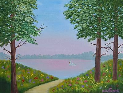 Swan On The Lake Sold Art Print by Ruth  Housley