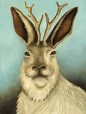 White Rabbit Painting - The Real Jackalope by Leah Saulnier The Painting Maniac