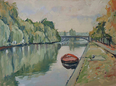 The Small Boat Along The Quai Of Halage Vise Art Print