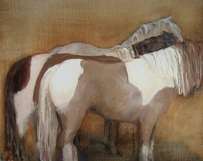 Pinto Painting - Three Ponies by Frieda Bruck