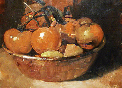 Oil Painting - Tomatoes In A Copper Bowl by David Simons