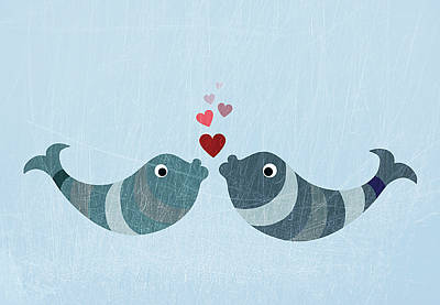 Horizontal Digital Art - Two Fish Kissing by Jutta Kuss