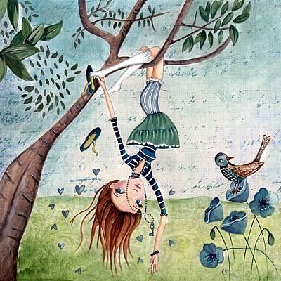 Manga Painting - Upside Down by Caroline Bonne-Muller