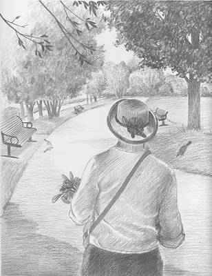 Drawing - Walk In The Park Dear Granny by Kathryn Donatelli