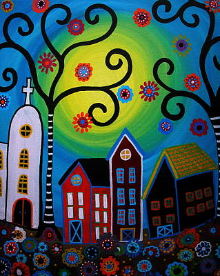 Whimsical Mexican Town Original by Pristine Cartera Turkus