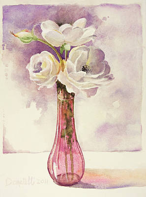 Painting - White Roses In Cranberry Glass by Kathryn Donatelli