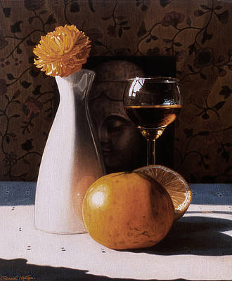 Painting - White Vase And Grapefruits by Daniel Montoya