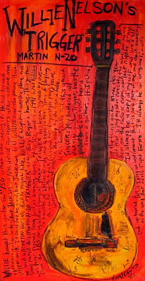 Guitar God Painting - Willie Nelson's Trigger by Karl Haglund