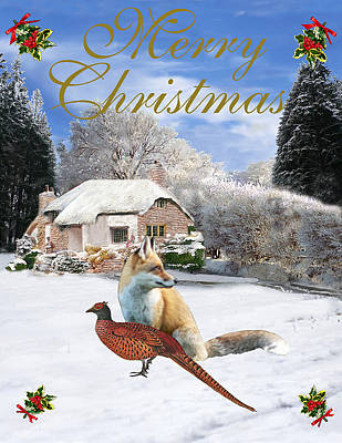 Pheasant Mixed Media - Winter Garden Christmas by Eric Kempson