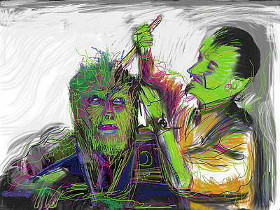 Horror Movies Mixed Media - Wolfie Gets A Haircut by Russell Pierce
