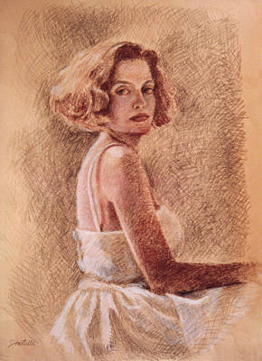 Drawing - Woman In White Dress by Kathryn Donatelli