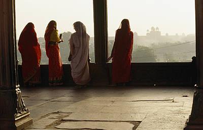 Women In Saris At The Famous Jama Art Print by Justin Guariglia