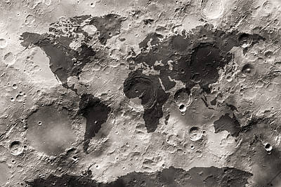 Map Art Digital Art - World Map On The Moon's Surface by Michael Tompsett