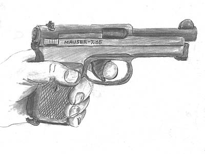 Drawing - Wwii Officers Mauser by Kevin Callahan