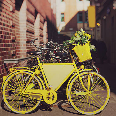 Stationary Photograph - Yellow Bike by Julia Davila-Lampe