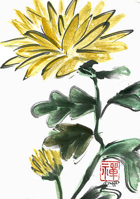 Buddhist Painting - Yellow Chrysanthemum by Ellen Miffitt