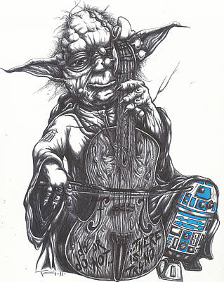 Pen Drawing - Yoda Soothes Baby R2 With The Charm Of His Homegrown Cello by Tai Taeoalii