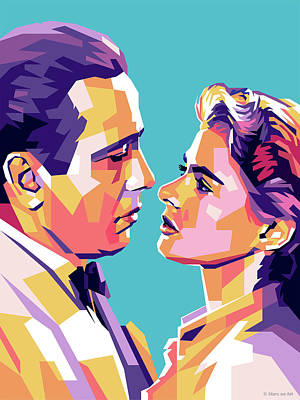Royalty-Free and Rights-Managed Images - Humphrey Bogart and Ingrid Bergman by Stars on Art