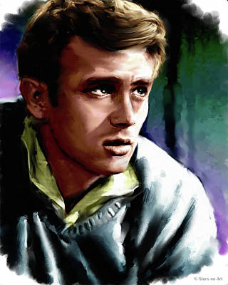 Curated Bath Towels - James Dean painting by Stars on Art