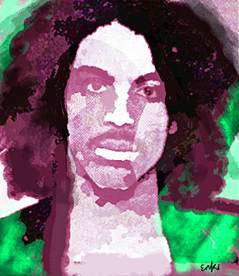 Musicians Drawings Rights Managed Images - Prince purple and green  Royalty-Free Image by Enki Art