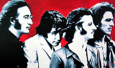 Music Paintings - The Beatles by Luis Ludzska Hood