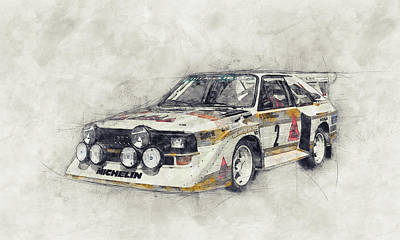 Mixed Media Royalty Free Images - Audi Quattro 1 - Rally Car - 1980 - Automotive Art - Car Posters Royalty-Free Image by Studio Grafiikka