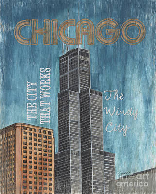 Royalty-Free and Rights-Managed Images - Retro Travel Poster Chicago by Debbie DeWitt