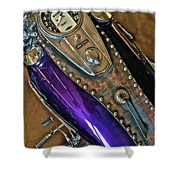 1953 Purple Harley Panhead Shower Curtain by Linda Bianic
