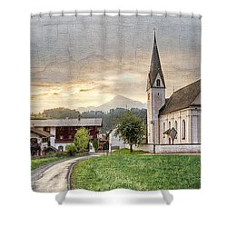 Country Church Shower Curtain by Debra and Dave Vanderlaan