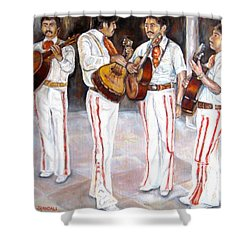 Mariachi  Musicians Shower Curtain by Carole Spandau