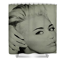 Shower Curtain featuring the drawing Miley Cyrus  by Brian Reaves