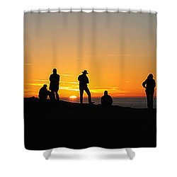 Shower Curtain featuring the photograph Panorama Everyone Likes A Sunset by Vivian Christopher