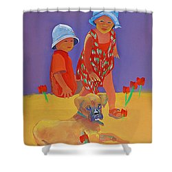The Boxer Puppy Shower Curtain by Charles Stuart