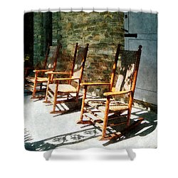 Three Wooden Rocking Chairs On Sunny Porch Shower Curtain by Susan Savad