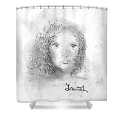 Shower Curtain featuring the drawing Something About Mary by Laurie L